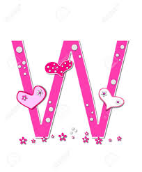 the letter w in the alphabet set heartfull is pink outlined