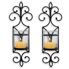 Flameless Candle Wall Sconce San Miguel Pentaro Wall Sconces Set Of 2 Bed Bath Beyond
