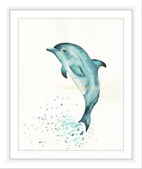 blue dolphin print watercolour dolphin sea life print art for