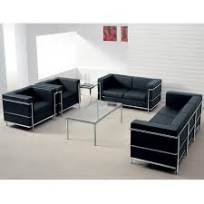 Contemporary Black Leather Sofa Contemporary Black Leather Commercial Sofa With Encasing Frame