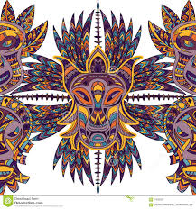 seamless pattern with tribal mask and aztec geometric