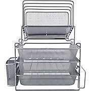 all in one desk organizer all in one silver wire mesh desk organizer 27642 staples blue