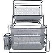 wire mesh desk organizer all in one silver wire mesh desk organizer 27642 staples blue