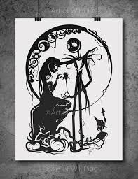 and sally nightmare before screen print of my