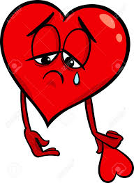 cartoon illustration of sad broken heart in love on valentine
