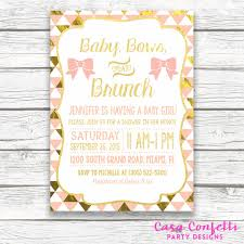 brunch invites baby shower brunch invitation baby bows and brunch and