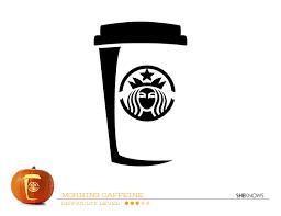 starbucks cup pumpkin carving template free printable coloring