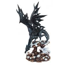 black dragon showing off for his young son dragon statue 18 1 2