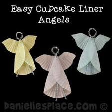 angel cupcake liner ornament craft from www daniellesplace com