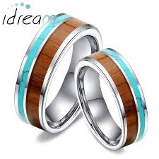 his and hers wedding rings cheap koa wood and turquoise inlaid tungsten wedding bands unique