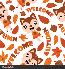 squirrel wrapping paper seamless pattern of squirrel and maple leaves vector
