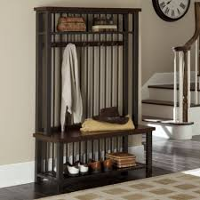 wood and metal entryway hall tree coat rack bench and shelf