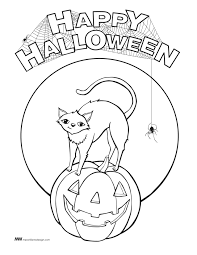 happy halloween free coloring page to download and print