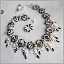 black shell necklace images Zebra stripes black and white seashell necklace francesca 39 s fancy jpg