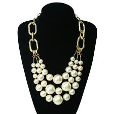statement necklace white images Fashion brand statement necklace multilayer big white pearl jpg