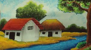 Painting Of House by How To Draw A Village Landscape With Oil Pastels Episode 3 Youtube