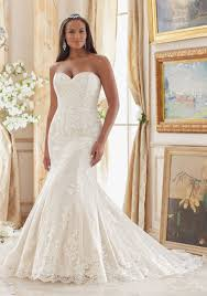 wedding dressing lace appliques on tulle plus size wedding dress style 3207 morilee