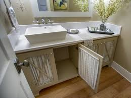 fancy country cottage style bathroom vanity with glass cabinet