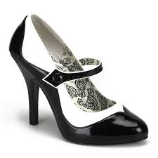 pleaser tempt07 black white faux patent spectator mary jane heels