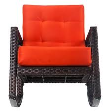Wicker Armchair Outdoor Merax Cushioned Rattan Rocker Chair Rocking Armchair Chair Outdoor P