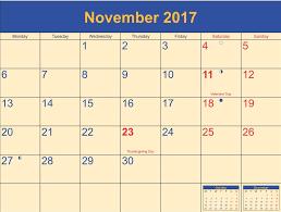 november 2017 calendar thanksgiving printable templates with holidays