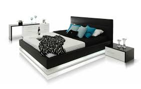 Bedroom Furniture New Jersey Infinity Contemporary Black Platform Bed W Lights