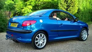 blue peugeot 01 51 peugeot 206cc 2 0cc coupe convertible for sale youtube