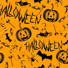 seamless halloween background seamless pattern with halloween decoration elements hand drawn