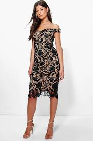 lace dress boutique marcie lace shoulder midi dress boohoo