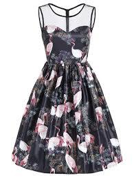 sleeveless red crowned crane print vintage dress black xl in