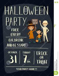 halloween party poster design with kids stock vector image 78811429