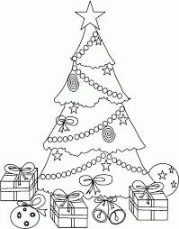 christmas tree with presents coloring page kids coloring