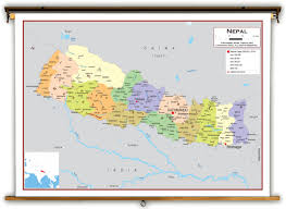 Nepal World Map Nepal Political Educational Wall Map From Academia Maps