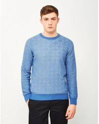 gant rugger shawlcollar sweater in blue for men lyst