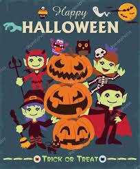 vintage halloween cartoons vintage halloween character poster design set with witch vampire