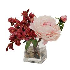 peony arrangement orchid and peony arrangement in square glass vase 10 pink