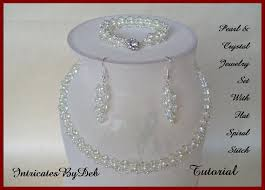 crystal necklace patterns images Tutorial beaded flat spiral necklace bracelet earring jewelry set jpg