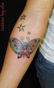 and color butterfly on arm