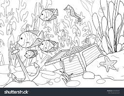 coloring page treasure under sea stock vector 404646301
