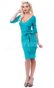 turquoise knitwear sheath v neck knee length half sleeve cocktail