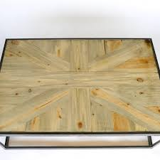 union jack design wood table beetle kill pine handmade modern