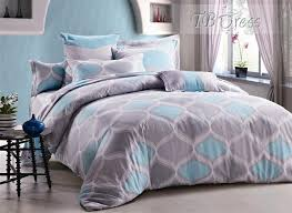Light Blue Bed Comforters Rustic Wavy Shape In Grey And Light Blue Cotton 4 Piece Bedding