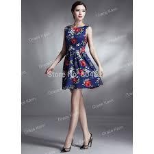 spring autumn runway vintage flower prints dress women elegant