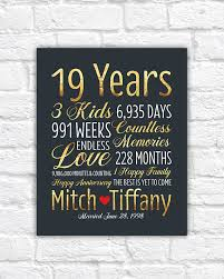 19th wedding anniversary gift personalized wedding anniversary gift 19th anniversary 19