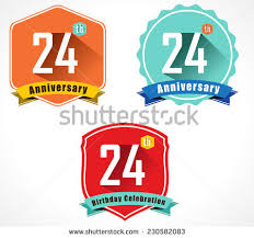 24 year birthday celebration flat color stock vector 230582083
