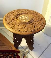 boho wood carved table indian folding table made india hand carved
