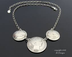 silver coin pendant necklace images Coin jewelry from vintage currency by db designs jpg