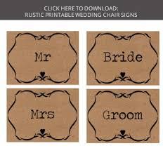 Wedding Signs Template Free Download Printable Wedding Chair Signs Bride U0026 Groom Signs