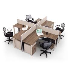 Office Desk Workstation New Design Customized Office Furniture 4 Seats Glass Partition