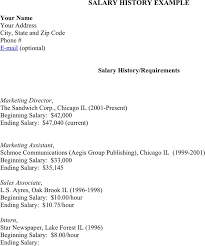Resume With Salary History Example by Resume Salary History Format Salary History Template Cover Letter